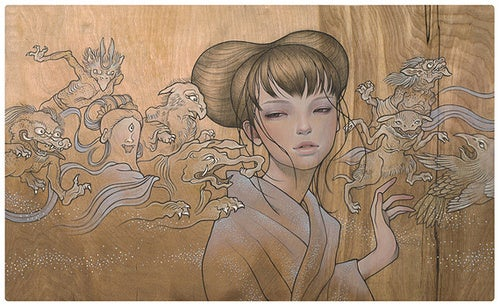 The ethereal wood paintings of Audrey Kawasaki