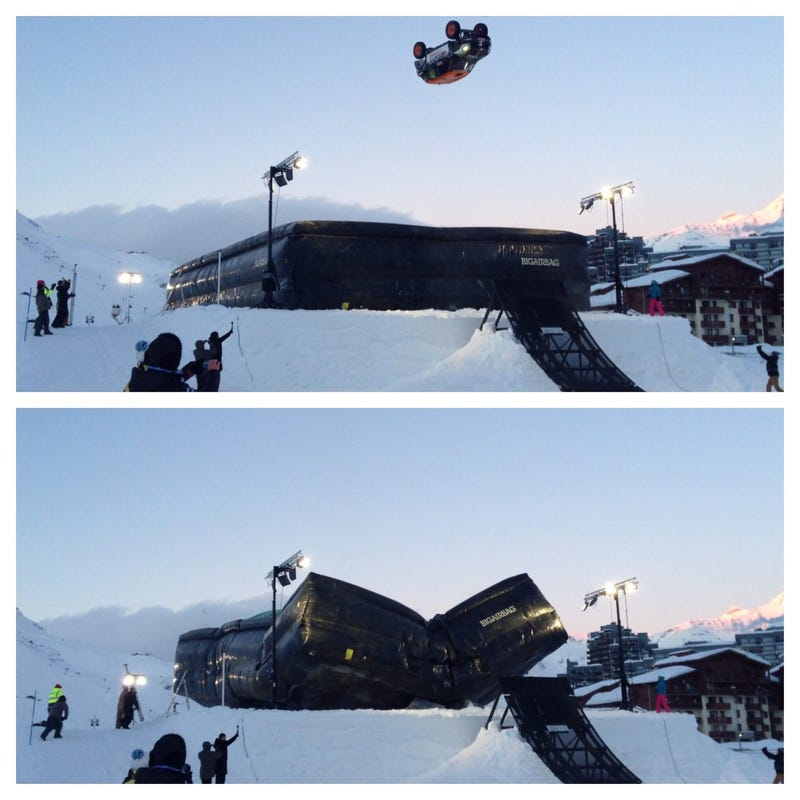 Frenchman Attempts Car Back Flip, Big Air Bag Is Beyond Cool