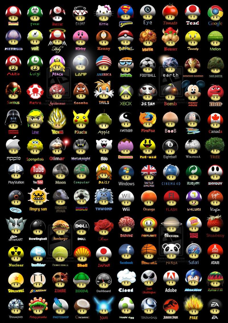 Super Mario Mushrooms Served 120 Ways