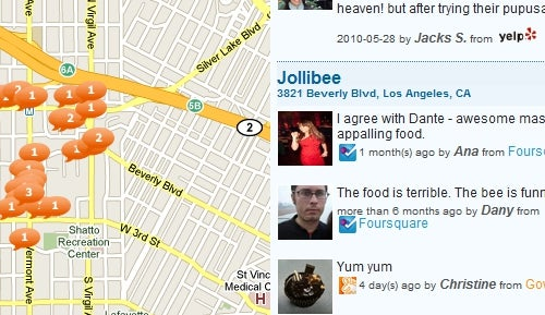 FourWhere Adds Yelp and Gowalla to Mapped-Out Reviews