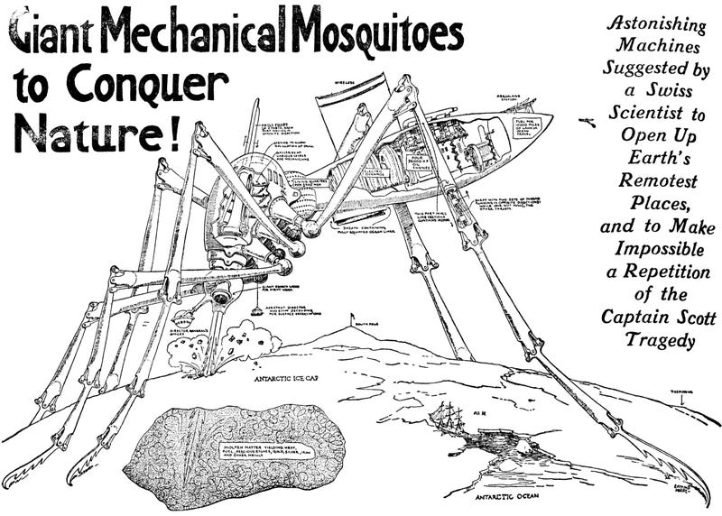 In 1913, a Utah newspaper reported that a giant mosquito robot would conquer Antarctica