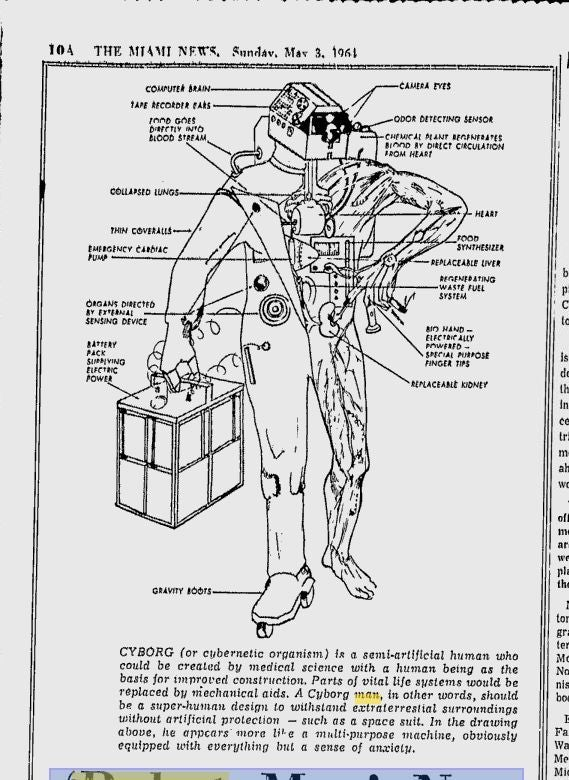 This is what a cyborg looked like in 1964