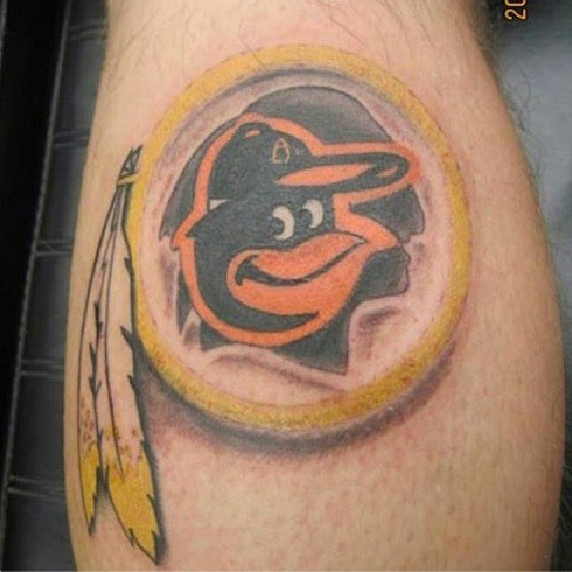 Some Asshole Got A Tattoo Of An Orioles Logo On Top Of A Redskins Logo