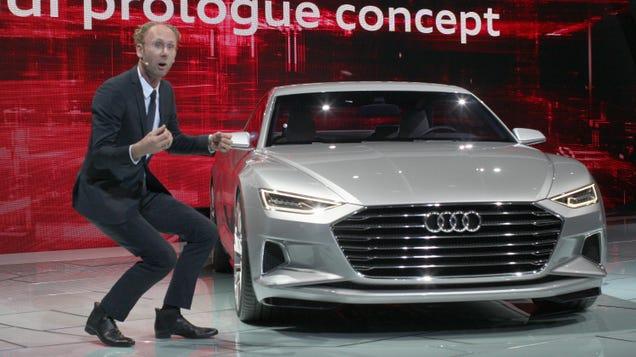 Caption This Hilarious Photo Of An Audi Presenter At The LA Auto Show
