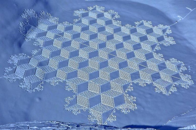 Crop circles found in the snow