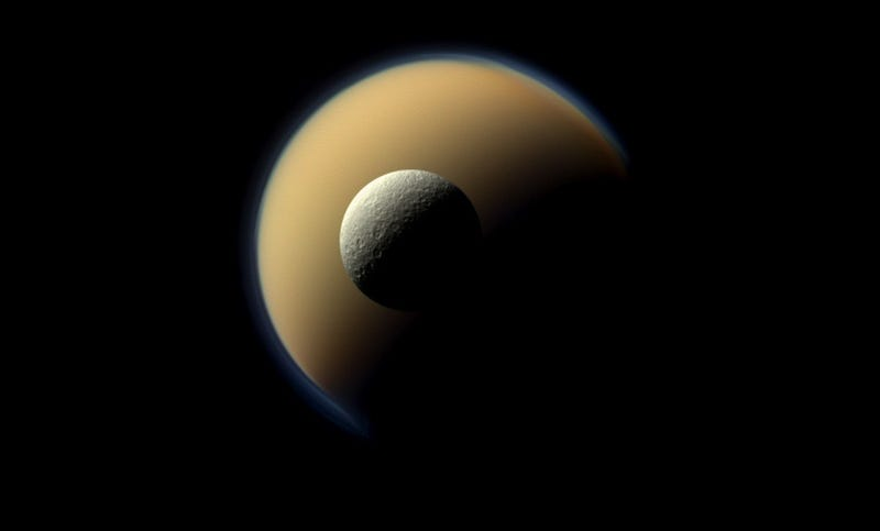 Saturn does its best to imitate a Christmas ornament