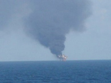 Mariner Energy Oil Rig Explosion: First Photo