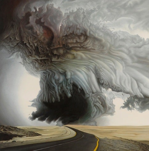 Dramatic paintings of gathering storm clouds