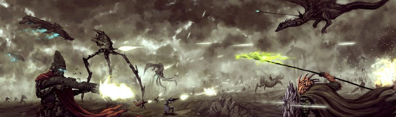 Science fiction and fantasy duke it out in an apocalyptic battle