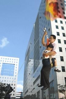 Happy Landing Zipline Rescues You (And Child) From Exploding Buildings