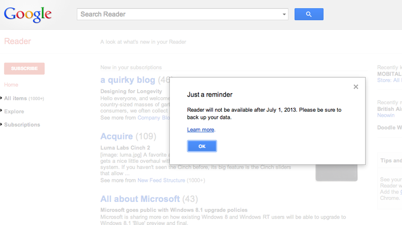 Turns Out Google's Reader Replacement Is Pretty Much Useless