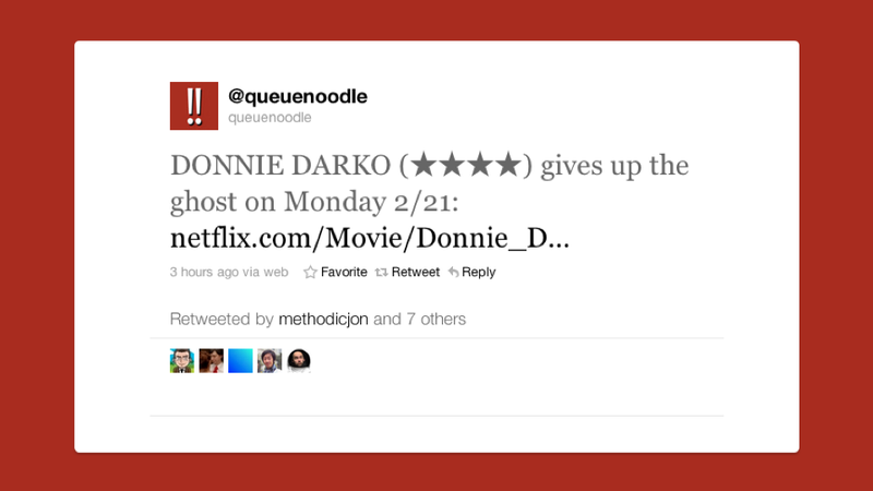 Let Queuenoodle Remind to Watch Those Streaming Netflix Movies Before They Expire