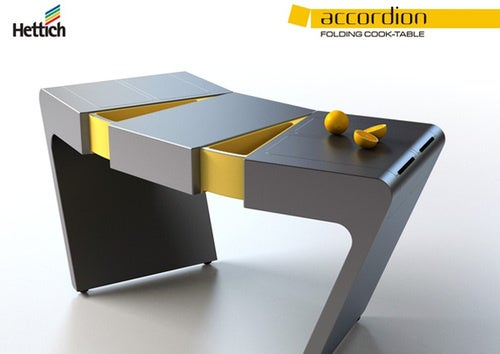 Accordion Table Scoffs at Drawers