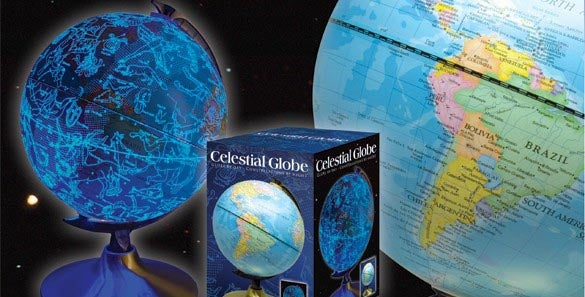 Celestial Globe Shows Earth During Day, Star Map at Night