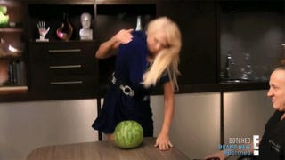 Woman Uses Giant Breasts To Crush Watermelons, Purchase a Small Island
