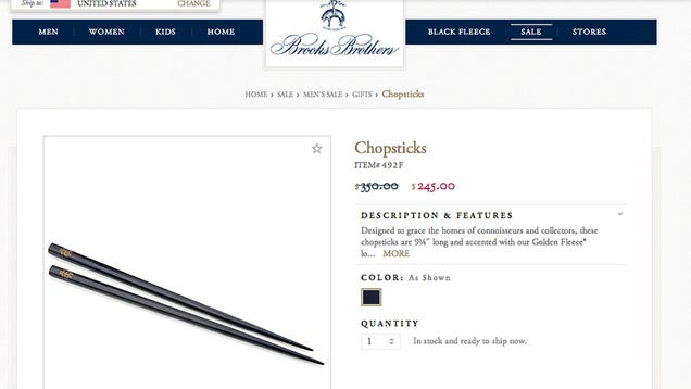 Brooks Brothers Chopsticks Now Only $245, Marked Down from $350