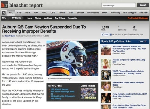 Bleacher Report Suspends Cam Newton