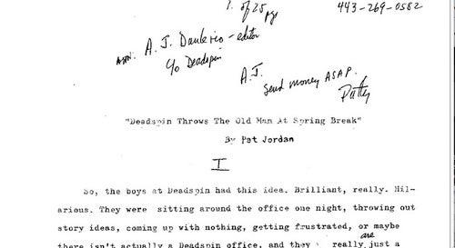 Pat Jordan Submits His Spring Break Essays To Us Via Fax