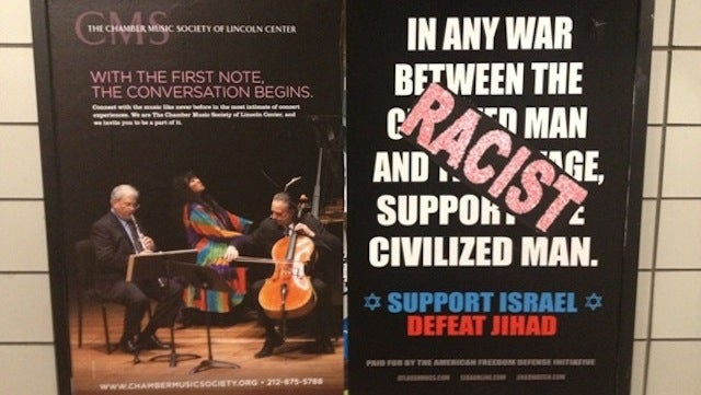 Anti-Islam NYC Subway Ads Immediately Covered with 'Racist' Stickers, Because They Are Racist