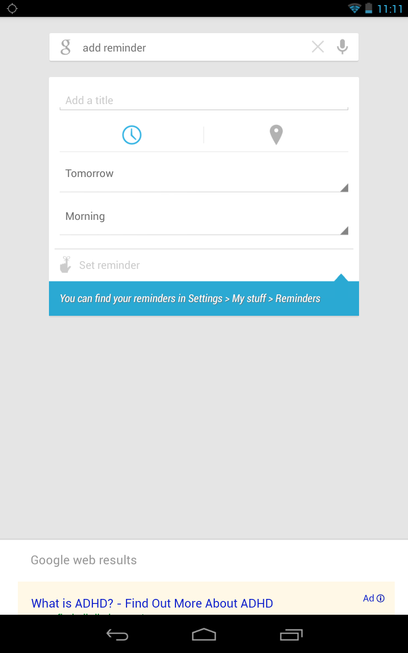 Using Google Now for Reminders