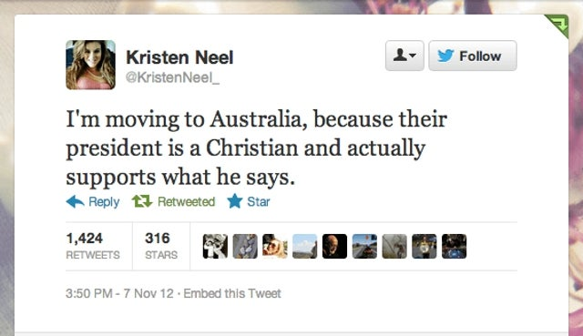 Australia Twitter-Shames the Crap Out of Random Teen Who Threatens to Move Down Under After Obama Win
