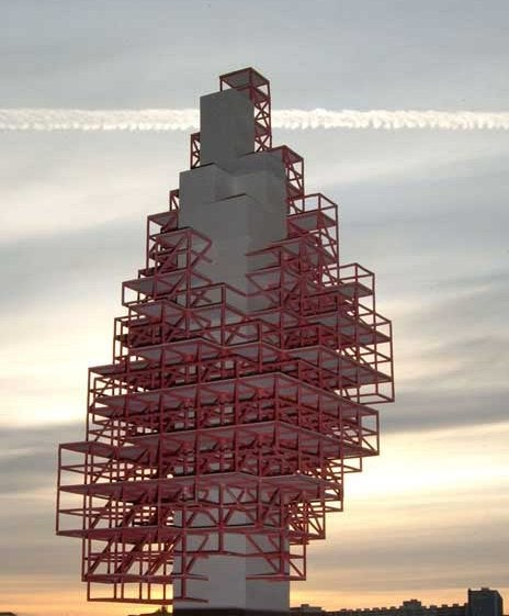 """Sky Village """"Pixel Tower"""" is Sustainable, Adaptable and Really Weird Looking"""