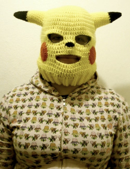 A Frightening Pikachu Ski Mask For *Cough* Skiing