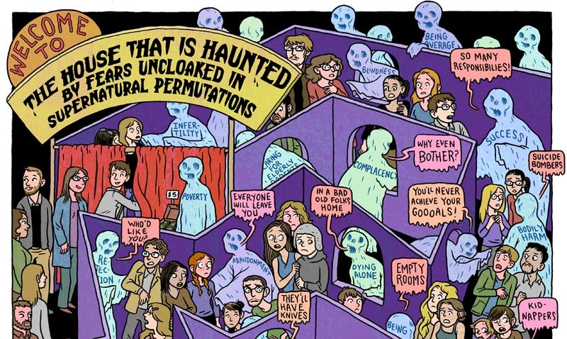 A cartoon essay that explores why we love to be scared