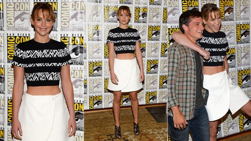 J. Law Has a Blast, Bares Her Belly at Comic-Con