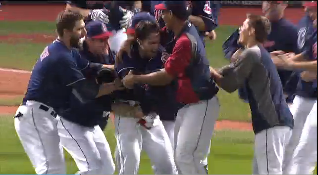 The Cleveland Indians Can't Stop Grabbing Each Other Inappropriately