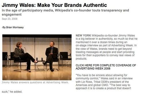 Who invited Jimmy Wales to Advertising Week?
