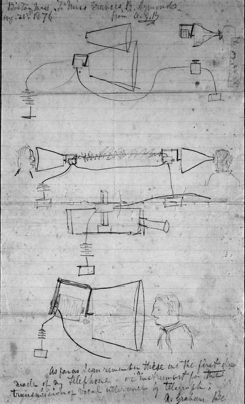 The First Ever Concept Sketch of the Telephone Turns 135-Years-Old Today