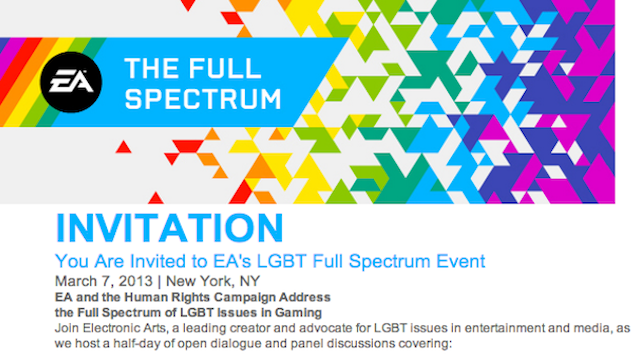 EA Is Hosting A Conference Next Week To Talk About Gay Rights And Gaming