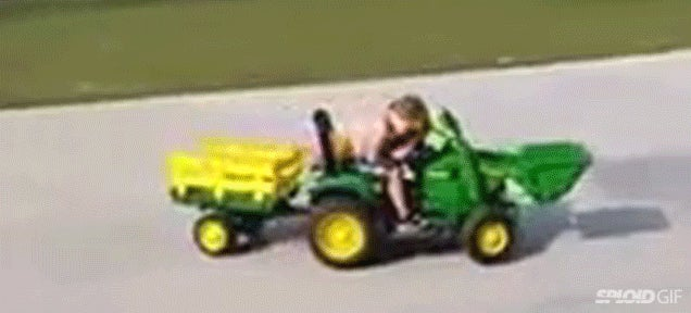 Little kid falls asleep in his toy car and ends up driving in circles