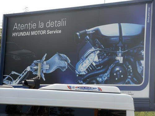 Hyundai Billboard Ironically Uses BMW V10