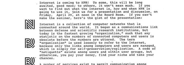 NPR Got the Internet 20 Years Ago: Read the Memo