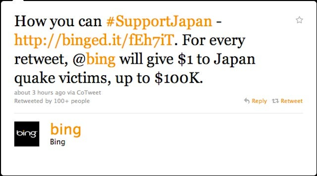 Bing's Tasteless Tsunami Tweet Sparks Twitter's Rage