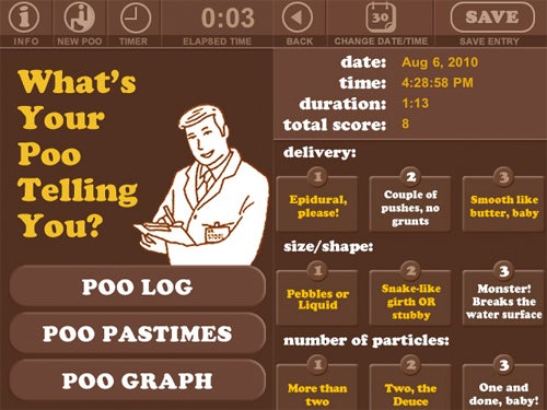 Poo Log iPhone App Does What It Says On the Tin