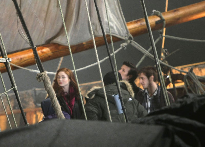 Matt Smith and Karen Gillan on a pirate ship
