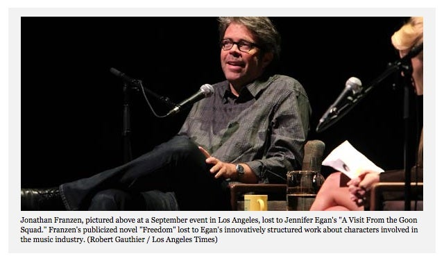 Jonathan Franzen Loses Book Award To Some Lady