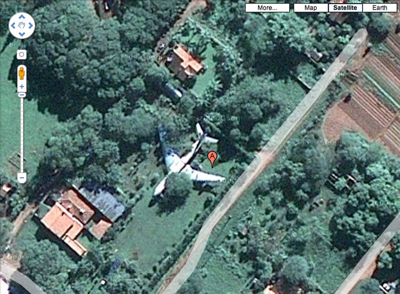 More Mystery Airplanes on Google Maps: In a Yard, Under the Sea