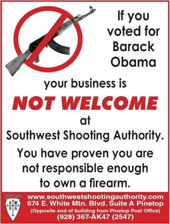 Gun Shop Owner Takes Out Full Page Ad in Local Paper Warning Obama Voters to Stay Away from His Store