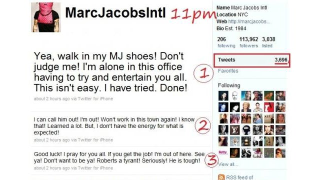 Intern at Marc Jacobs International Lets Loose On Their Twitter