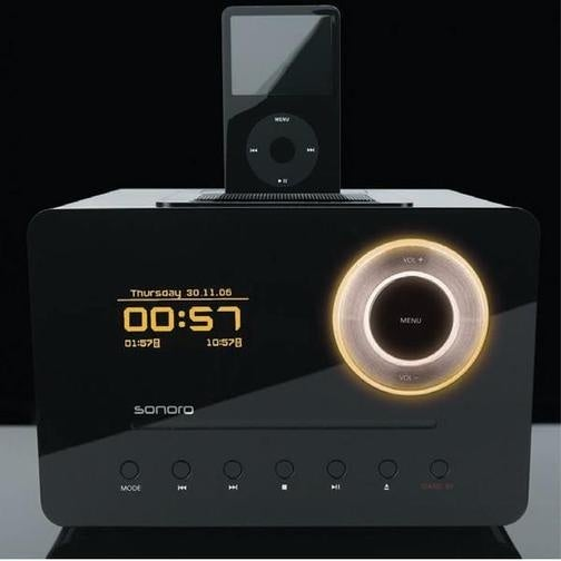 Slick-Looking iPod Dock Packs Slot-Loading CD Player, Radio, and OLED Display