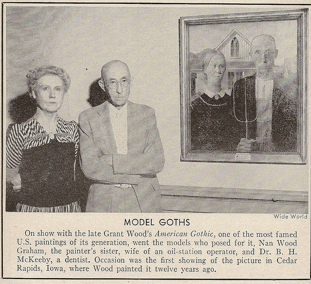 An incredibly surreal photo of the real-life goths from American Gothic