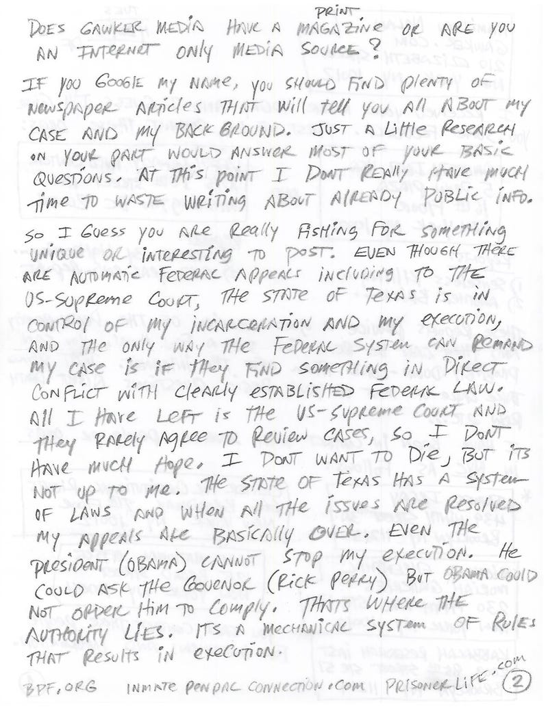 Letters From Death Row: Douglas Feldman, Texas Inmate 999326