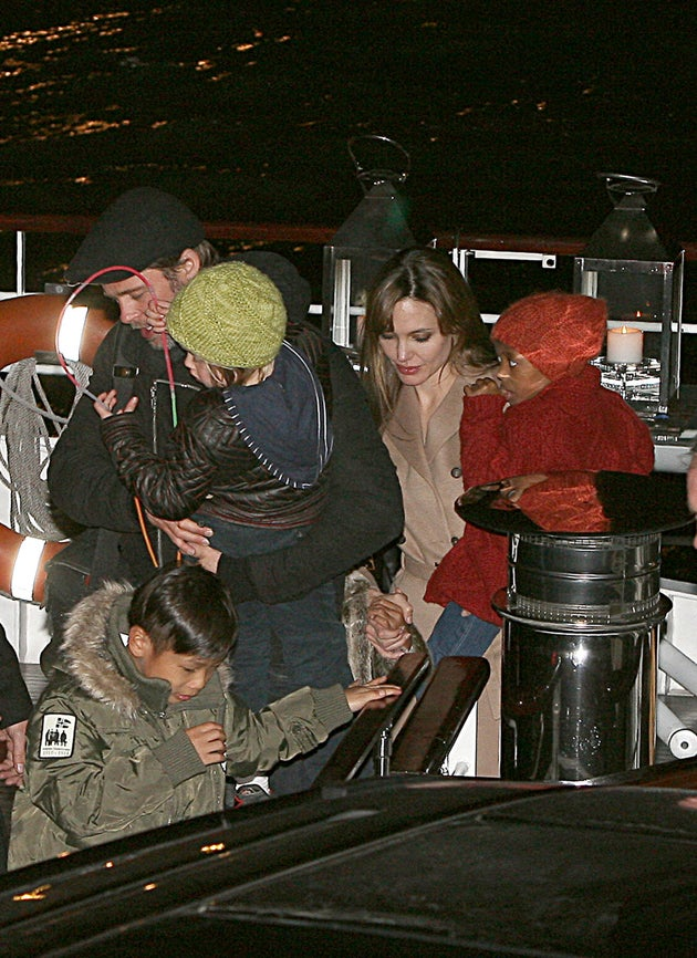 Brad & Angelina Celebrate With Their Boatload Of Kids