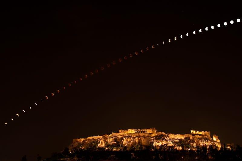 A lunar eclipse leaps over the Acropolis