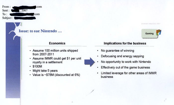 Powerpoint Docs Point to Immersion vs. Nintendo Suit