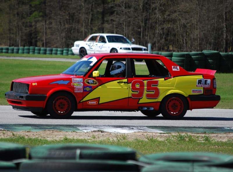 Early Leader In 24 Hours Of LeMons South: Lightning McQueen VW Jetta!